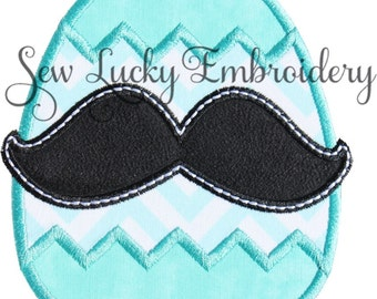Mustache Egg Applique Embroidered Patch , Sew or Iron on