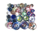 Czech Glass Button Lot Vintage Assorted Buttons with Iridescent Finish
