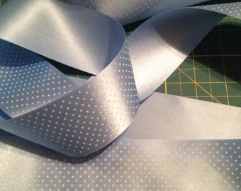 50mm (2 inch) Blue with Small White (one side) Spot Satin Ribbon x 5 metres