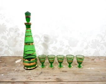 Emerald Green Decanter set, with gold trim, Liqueur Aperitif Glass, Mid Century, Hand Blown and cut Glass