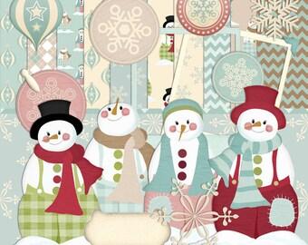 Christmas Scrapbook, Christmas Snowman, Nostalgia Scrapbook, Snowman Scrapbook, winter Scrapbook, Instant Download, digital Scrapbook