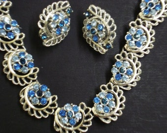 Lovely SHIMMERring NECKLACE and Matching EARRINGS Silver Tone Clip Style Earrings Great Detail
