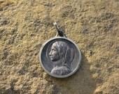 Vintage French Medal, Antique Patron Saint Medal, Catholic jewelry, Christian pendant, Saint Bernadette, Vintage Supplies