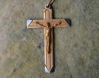 Vintage French Crucifix, vintage Catholic Jewelry, Catholic gifts