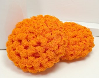 Eco Friendly Crochet Dish Scrubbers - Orange - Set of 2 - Scouring Pads