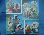 Puffy Animals, Santa, Bear, Cat, Bunny, Mouse, chicken,  Dolls,Toys Craft Pattern, Simplicity 7043