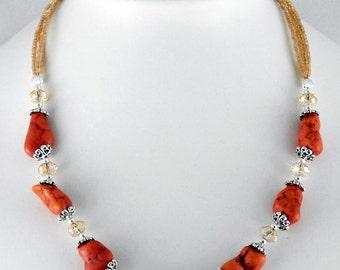 Orange howlite nugget necklace, orange necklace, bohemian jewelry, gemstone necklace, orange choker, statement necklace, bridesmaid necklace