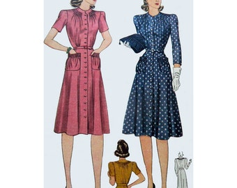 1940s Style Button Up Smocked Neck Line Dress With Flare Skirt and Shirred Pockets Custom Made in Your Size From Vintage Pattern