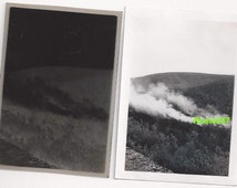 Forest Fire Antique Photograph With Negative Paper Ephemera Forestry Snapshot Nature Landscape Scenery Photo
