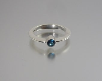 Silver Band Ring with Topaz