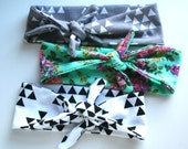 Turban Baby Headband Set in Triangles and Floral