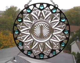 Stained Glass Suncatcher|Vintage Plate|Aqua|Aqua Glass Gems|Round Suncatcher|Art & Collectibles|Glass Art|Suncatcher|Handcrafted|Made in USA