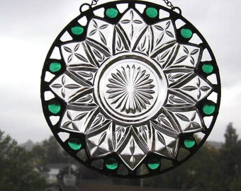 Stained Glass Suncatcher|Vintage Plate|Green Glass Gems|Green|Round Suncatcher|Art & Collectibles|Glass Art|Handcrafted|Made in USA