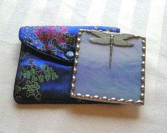 Stained Glass Purse Mirror|Pocket Mirror|Dragonfly|Blue|Bath & Beauty|Makeup Tool|Handcrafted|Made in USA
