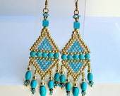 Chandelier Earrings With Fringe  - Chalk Turquoise Gem Beads & Gold Accents