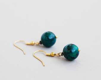 Chrysocolla Earrings, Gemstone Earrings, Dangle Earrings, Natural Stone Earrings, Teal Earrings, Drop