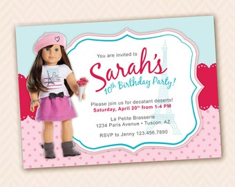 american girl paris  etsy, Birthday invitations