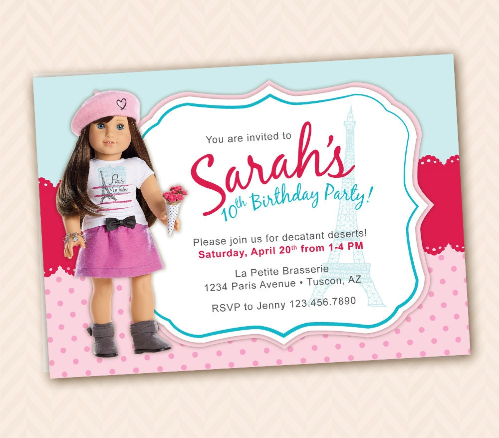 Grace Girl Doll Of The Year Birthday Or Party - Invitation in french to birthday party