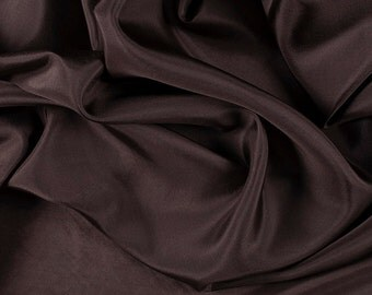 """45"""" Wide 100% Silk Habotai Dark Brown-Wholesale by the Yard"""