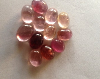Pink Tourmaline cabochon size 6x8 to 7x9 mm pcs 12 wt 19 carats
