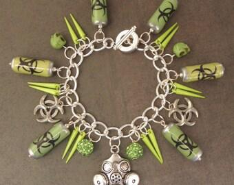 Biohazard Canister & Gasmask Neon Green Cyberpunk Charm Bracelet - The Walking Dead Zombie Apocalpse - Zombie Survival Kit Jewellery