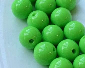 12 mm Opaque Apple Green Color Round Shape Candy Acrylic Beads (.mgu)