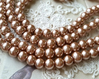 8 mm Champagne Color Glass Pearl Beads (.mtgs)