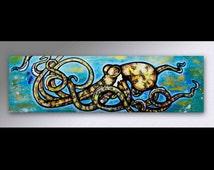 Blue Ring Octopus Painting | Octopus Art | Sealife Painting | Octopus Canvas | Surf Decor | Beach Decor |  Sea Life Decor | Canvas Art