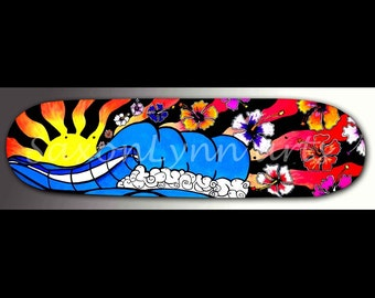 Wave Painting Skateboard Art | Surfer Girl Decor | Hibiscus Flower | Wave Art | Surf Art | Hawaiian Decor | Neon Artwork | Ocean Painting