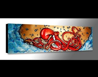 Red Octopus Painting | Octopus Art | Sealife Painting | Octopus Canvas | Surf Decor | Beach Decor |  Sea Life Decor | Scuba Art | Canvas Art