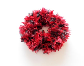 Red and Black Fuzzy Ponytail Holder Knit Scrunchie Hair Tie