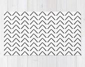Soft WOVEN AREA RUG White Big Black Abstract ZigZag Arrows Minimalist Urban Modern Patio Deck Kitchen Bath Mat 2x3 3x5 4x6 Machine Washable