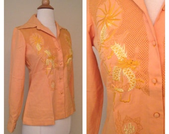 Vintage 70s Womens Mustard Yellow Button Up with Traditional Japanese Dragon Great for Tattoo Art Lovers Size Small