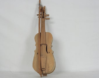 Folk Art Carved Fiddle and Bow, Musical Instruments, Wooden