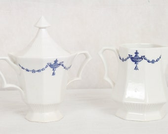 Vintage Independence Ironstone Creamer and Sugar, Blue and White, Octagonal, Dinnerware, Serving Pieces, Castleton, Japan