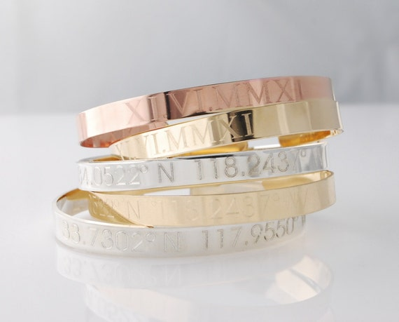 Items Similar To Roman Numeral Cuff Bracelet Engraved With