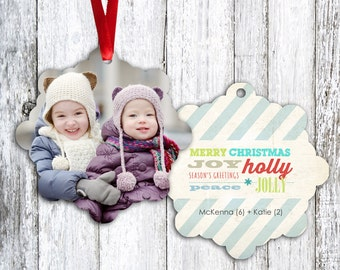 Personalized Photo Christmas Tree Ornament - Double Sided with Ribbon - Many Greetings