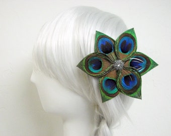 Peacock Feather Flower Fascinator Clip with Dark Silver Accent Piece and Rhinestone