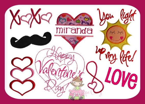 Valentine Embroidery design Pack