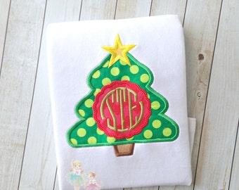 Monogrammed Christmas Tree Applique Shirt- Green dot- Custom Holiday shirt