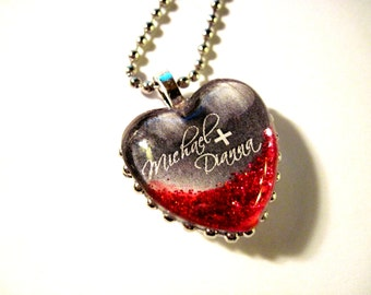 Two Sided Custom Heart Pendant, Valentines Gift, Handmade Pendant, wedding, anniversary, Valentine