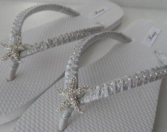 Bridal White Flip Flops / Starfish Rinestone wedding Flip Flops / Bridal Sandals / bridesmaids Shoes ..