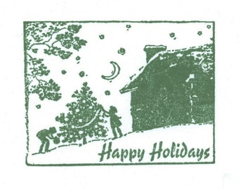 Unmounted Happy Holiday Rubber Stamp