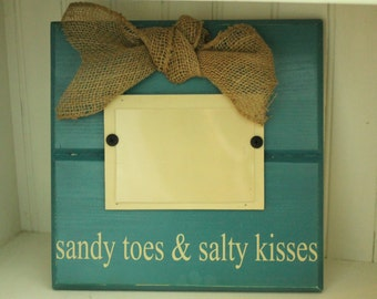 Distressed Wooden Picture Frame - Turquoise - Teal - Sandy Toes & Salty Kisses - Beach Decor  - Personalized Gift - Picture Frame - Photo