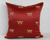Dragonfly Red Pillow Cover, 18 x 18, Burgundy, Mustard, Red, Yellow, Gold, Chenille