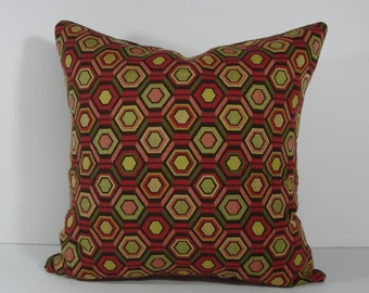 Geometric Decorative Pillow Cover, Olive Green, Pink, Brown, 18 x 18 Pillow Cushion