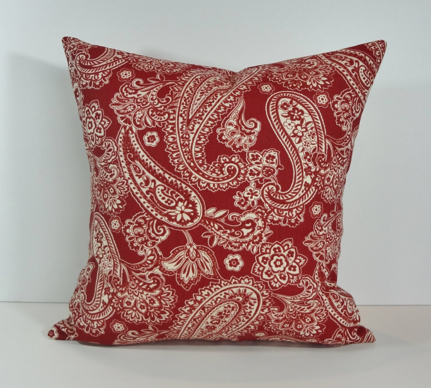 cranberry red paisley decorative pillow cover 18 x 18. Black Bedroom Furniture Sets. Home Design Ideas