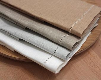 "Set of 4 jacquard linen napkins 18""x18"" white beige gray"