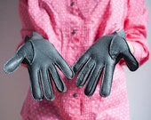 Vintage Deadstock Charcoal Leather Gloves