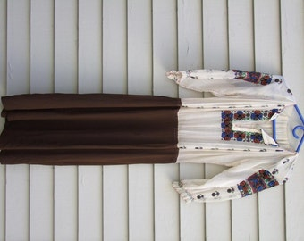 Vintage hand made Hungarian Peasant dress w embroidery and open work ala 1930s ON SALE